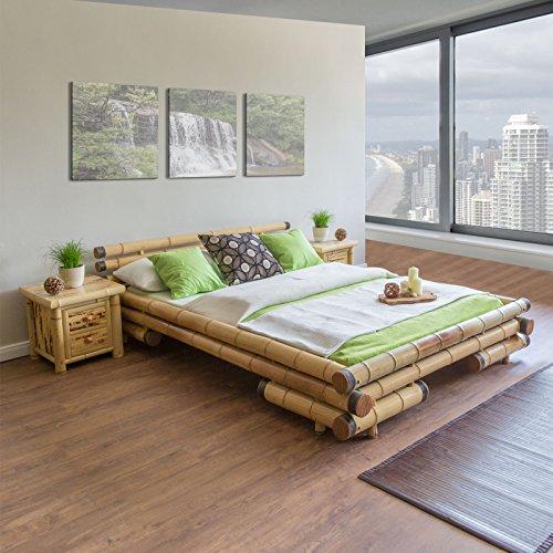 Homestyle4u 700, Bambusbett 200x200 cm, Bettgestell mit ...