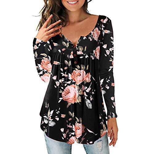Damen Sommer Mode Spitze 3/4 Halbhülse Solide Tops Sexy Kausalen V-Ausschnitt Druck Postleitzahl Bluse Shirts (M, Schwarz 02) -