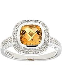 Naava Women's 9 ct White Gold Cushion Shaped Citrine and Diamond Ring