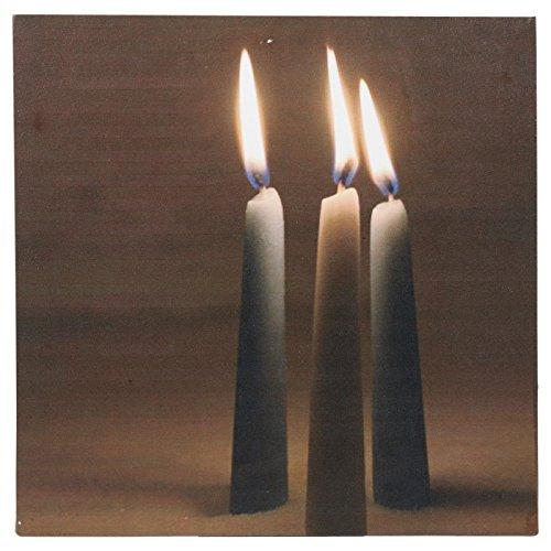 Luz LED doce velas con efecto parpadeante lienzo colgar en la pared Imagen parpadeo de regalo, 3 Tall Candle Sticks, 30 x 30 cm