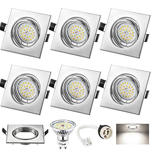 Foco Empotrable Cuadrado, Wowatt 6x Luz de Techo GU10 LED Blanco Frio...