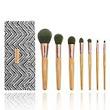 MIRACOS 7pcs Pinceaux de maquillage professionnelsen poils synthétiques qui libèrent des ions - Un kit de pinceaux pour de multiples applications avec pochette de rangement