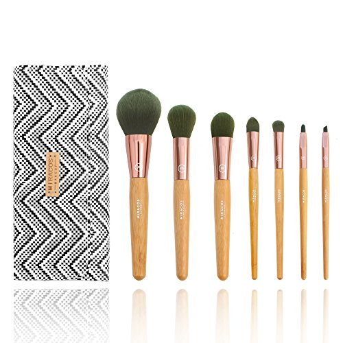 MIRACOS 7 Stück Professionelle Makeup Pinsel Lackierter Echtholzstiel Synthetisches Haar Pinselset Anzüge für Berufsverfassungs oder Ausgangsgebrauch mit Aufbewahrungstasche (Make-up Pinsel Haare)