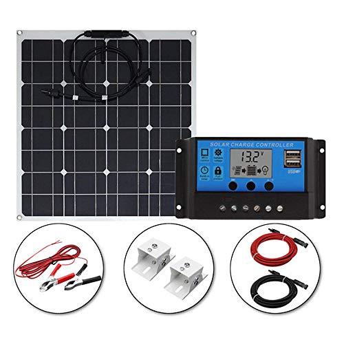 Solar Kit Solarpanel monokristalline Solar Biegen Photovoltaik-Solarpanel Hohe Umwandlungseffizienz Wasserdicht staubdicht 12V 24V LCD Laderegler, 50W/30A