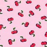 0,5m Jersey Kirschen rosa 95% Baumwolle 5% Elasthan