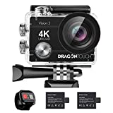Dragon Touch Action Cam 4K 16MP Action Kamera Vision 3 Unterwasserkamera 170° Weitwinkel WiFi...
