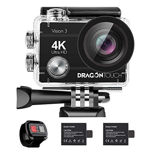 Dragon Touch 4K 16MP WiFi Cámara Deportiva Videocámara Sumergible Acuática 30m Control Remoto Cargador con 2 Baterías 170° Gran Ángulo Accesorios Multiples(Modelo de Vision3)
