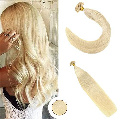 Ugeat 50g utip extension capelli veri cheratina #613 bleach blonde remy hair extensions nail tip 16pollici/40cm