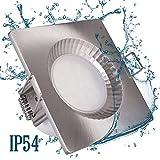 LED Bad Dusche Einbaustrahler 230V IP54 eckig Rostfrei 5W Feuchtraum Einbauspot Edelstahl Optik badezimmer Deckenspot Einbauspot