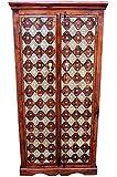Orientalischer grosser Schrank Kleiderschrank Kajal 180cm hoch | Marokkanischer Vintage Dielenschrank schmal | Orientalische Schränke aus Holz Massiv für den Flur, Schlafzimmer, Wohnzimmer oder Bad