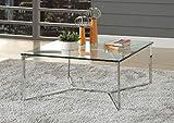Major-Q 9084605 Couchtisch, modern, quadratisch, 12 mm, durchsichtige Tischplatte aus gehärtetem Glas, Y-Form, Metall, geometrische Basis