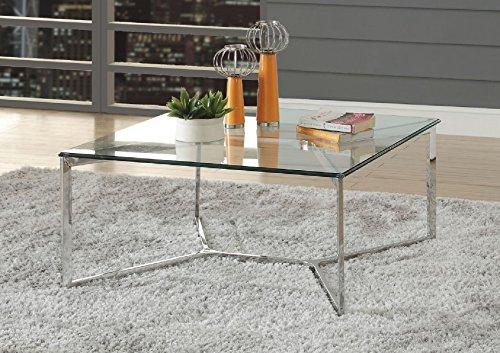 Moderne Metall-basis (Major-Q 9084605 Couchtisch, modern, quadratisch, 12 mm, durchsichtige Tischplatte aus gehärtetem Glas, Y-Form, Metall, geometrische Basis)