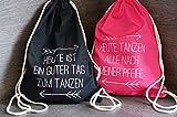 Set aus 10 Turnbeutel JGA Rucksack für Junggesellenabschied; 1 Brautbeutel und 9 Beutel für die Mädels