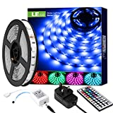 LE LED Strips Lights 5M, RGB Colour Changing Lightstrip, Stick-on Anywhere, Remote Control Mood Lighting for Kitchen, Bedroom, TV, Bar and Home Decoration
