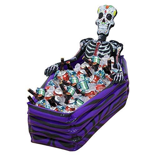 Halloween Aufblasbare Requisiten Dekoration, Skelett Aufblasbare Eis Schaufel Pool, Holiday Party Dekoration Requisiten Wasser-Eis-Eimer, 102Cm × 30Cm × 26Cm