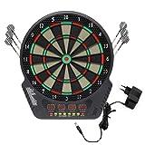 Miafamily Dartboard,Bersaglio Elettronico Incluse 12 Dardi Morbidi Tiro al Bersaglio Gioco di Freccette con Indicatore LED (Nero)