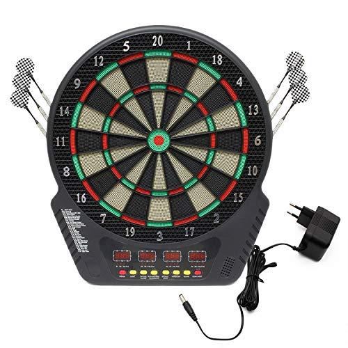 Miafamily Elektronische Dartscheibe Dartspiel Scheibe LED Dartautomat Cabinet mit 12 Dartpfeilen Ersatzsspitzen und Netzteil Unisex Erwachsene