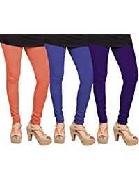 CAY 100% Cotton Combo of Purple, Orange and Blue Color Plain, Stylish & Most Comfortable Leggings For Girls & Women with Full Length (SIZE : Free Size)
