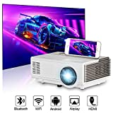 Wireless Smart HD LED Projector with Bluetooth, 2800 Lumen Support 1080P Max 120″Display Built-in HiFi Speaker Android Portable Projector with HDMI/VGA/USB/AV/TF for Outside Movie Home Cinema Gaming