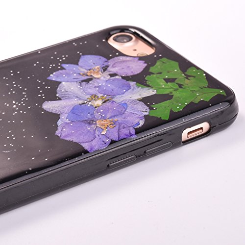 Elegante e Leggera Custodia per Apple iPhone 7Plus 5.5(NON iPhone 7 4.7), CLTPY Nero Case in Pressed Reale Fiore Natura Bella Clear View Ultra Slim Morbida Gomma Gel, Particolari Fantasia Lusso per  Fiore 9