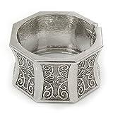Breit geschoben Brennen Silber gehämmert Armreif Armband