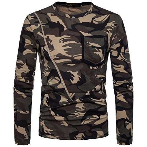 KPILP Mens Long Sleeve Shirt Camouflage Printing Pullover T-Shirt Handsome Sweatshirt