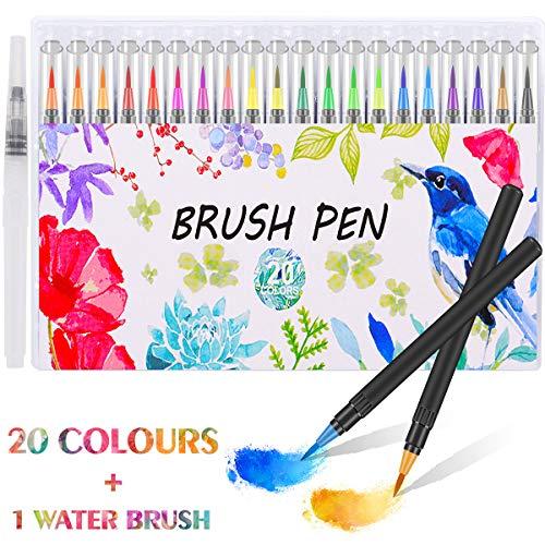 Firbon Rotuladores Acuarelables para pinceles para pinceles 20 colores + 1 Pincel de agua para dibujos a color, dibujos, caligrafía, letras