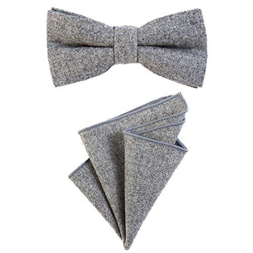 DonDon Herren Fliege 12 x 6 cm gebunden längenverstellbar und Einstecktuch 23 x 23 cm farblich passend aus Baumwolle hellgrau - Tweed Vintage-anzug