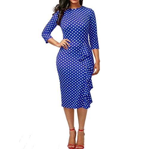 Damen Kleider Retro Abendkleider Longra Polka Dots Kleider Vintage Kleid Damen Elegante Langarm Bodycon Etuikleid Businesskleid Schöne Kleider Festliche Wickelkleid Cocktailkleid Blue