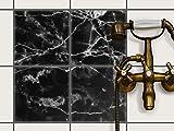 creatisto Fliesen-Folie Sticker Aufkleber selbstklebend | Fliesenmuster Deko-Folie Badezimmer renovieren Küche Dekoration Küche | 20x20 cm Design Motiv Marmor schwarz - 4 Stück