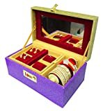 Atorakushon wooden Mixed Jewellery Locker Box Tops Studs Necklace,Earring Jewellery Kit / Jewellery box/Wardrobe Organiser/Regular Make Up Kit/ Wedding Collection Gift for Women Girls NonWoven