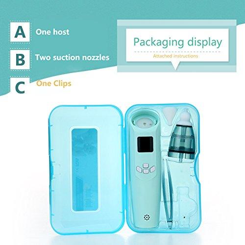 Baby Nasensauger, Luerme Electric Nasensauger Safe Hygienische Nase Reiniger mit LCD Bildschirm, Musik, bunten Licht und 3 Ebenen Saug für Neugeborene und Kleinkinder (Blau) - 5
