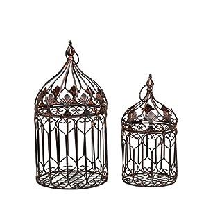 Decorative metal bird cage - vintage style - set of 2 - brown height 50cm / 35cm
