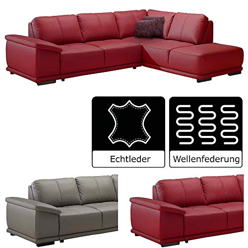 Leder Sitzgarnitur Sofa (Cavadore Ecksofa mit Ottomane rechts / Rote Ledercouch im modernen Design / 273 x 83 x 214 (BxHxT) / Leder und Kunstleder rot)