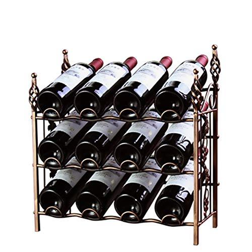 Lucky Big Head YY Weinflaschenhalter Vintage Schmiedeeisen Weinregal Schutz Weinflasche 3-Lagiges Weinlagerregal Montage (12 Flaschen) 420 * 200 * 440 Mm,Threelayers