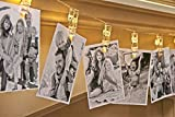 Auraglow Battery Operated 20 Photo Clips Picture Pegs Wedding Birthday LED String Lights - Warm White