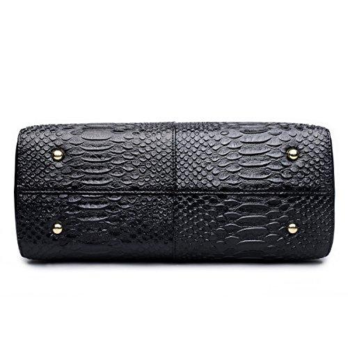 Serpentin Modetasche Leder-Umhängetasche Frauen Handtasche Black