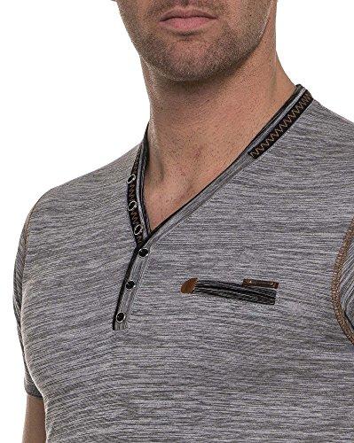 BLZ jeans - graues Hemd gestreift mit V-Ausschnitt Grau