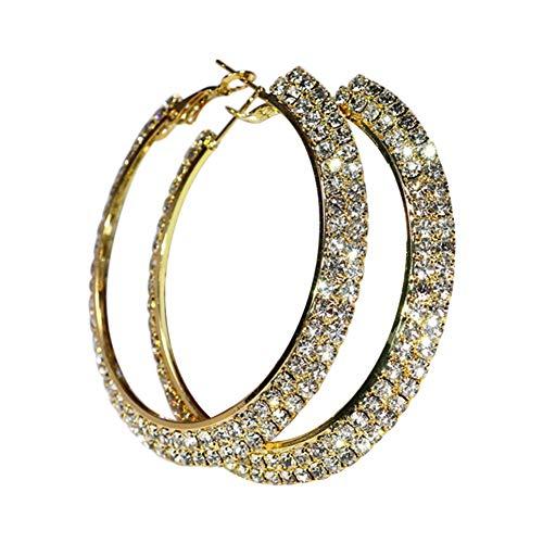 wonCacrostrans Frauen Ohrringe, Trendy Lady Strass Hip Hop großen Kreis Ring Creolen Golden 7cm
