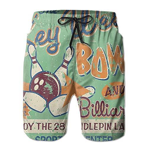 Naiyin Men's Summer Beachwear Quick Dry Board Shorts Casual Athletic Beach Surfing Shorts for Bowling Night Pattern (L)