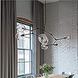 Eloveban Kronleuchter Wohnzimmer führte kreative Beleuchtung Glas Lampenschirm Luxus Dekoration kann den Winkel einstellen Schwarz Transparent