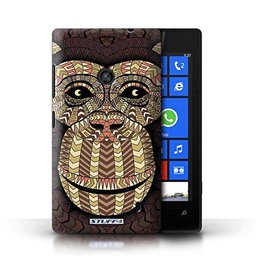 Etui / Coque pour Nokia Lumia 520 / éléphant-Couleur conception / Collection de Motif Animaux Aztec Singe-Sépia