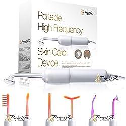 Portable 6 Elektroden Argon Gas Violett und Neon Gas Orange Hochfrequenz D'Arsonval Gesichtsbehandlung für die Alterung der Haut Schrumpfen Poren Spot Puffy Augen Beauty-Therapie-Gerät