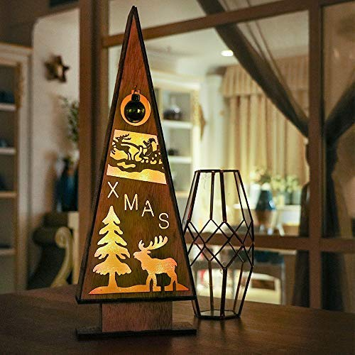 Victor's workshop 39,5cm decorazioni natalizie tavola di natale ornamento natalizio con luci a led, piramide in legno decorazione per albero di natale per tavolo e regali