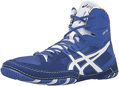 ASICS Men's Cael V7.0 Wrestling Shoe, Asics Blue/White/Rich Gold, 11.5