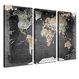 """LANA KK - Weltkarte Leinwandbild mit Korkrückwand zum pinnen der Reiseziele – """"Weltkarte Graphit"""" - deutsch - Kunstdruck-Pinnwand Globus in schwarz, dreiteilig & fertig gerahmt in 120x80cm"""