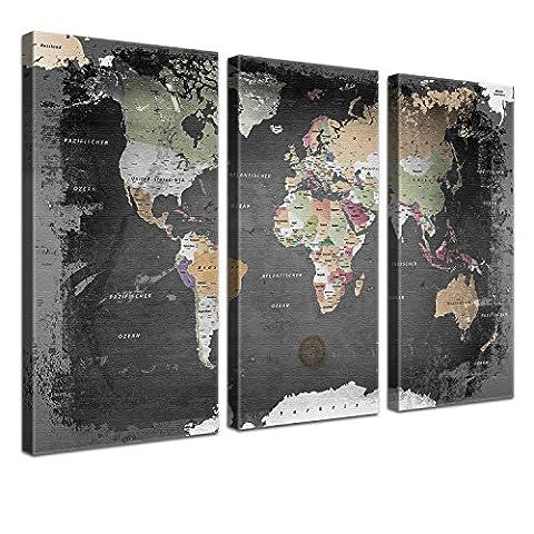 Lana KK - Weltkarte Graphit mit Kork Rückwand - edel Leinwand Bild Kunstdruck auf Keilrahmen, Pinnwand für Weltenbummler 150 x 100 cm, dreiteilig