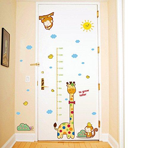Weaeo Cartoon Giraffe Affe Höhe Chart Kinder Zimmer Bäume Höhe Wachstum Messen Aufkleber Für Kinder Herrscher Aufkleber Baumschule Dekorationen (Wandtattoo Wachstum Giraffe Chart)