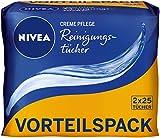 NIVEA 2er Pack Abschminktücher, 2 x 25 Stück, Creme Pflege Reinigungstücher