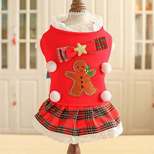 Herbst-und Winter-Haustier-Kleidung Weihnachtsroter schottischer Rock zwei Bein-Abnutzungs-Verschluss-Schneemann-Bogen-Dekoration Teddy Small Dog Pet Supplies (Size : Xs) -